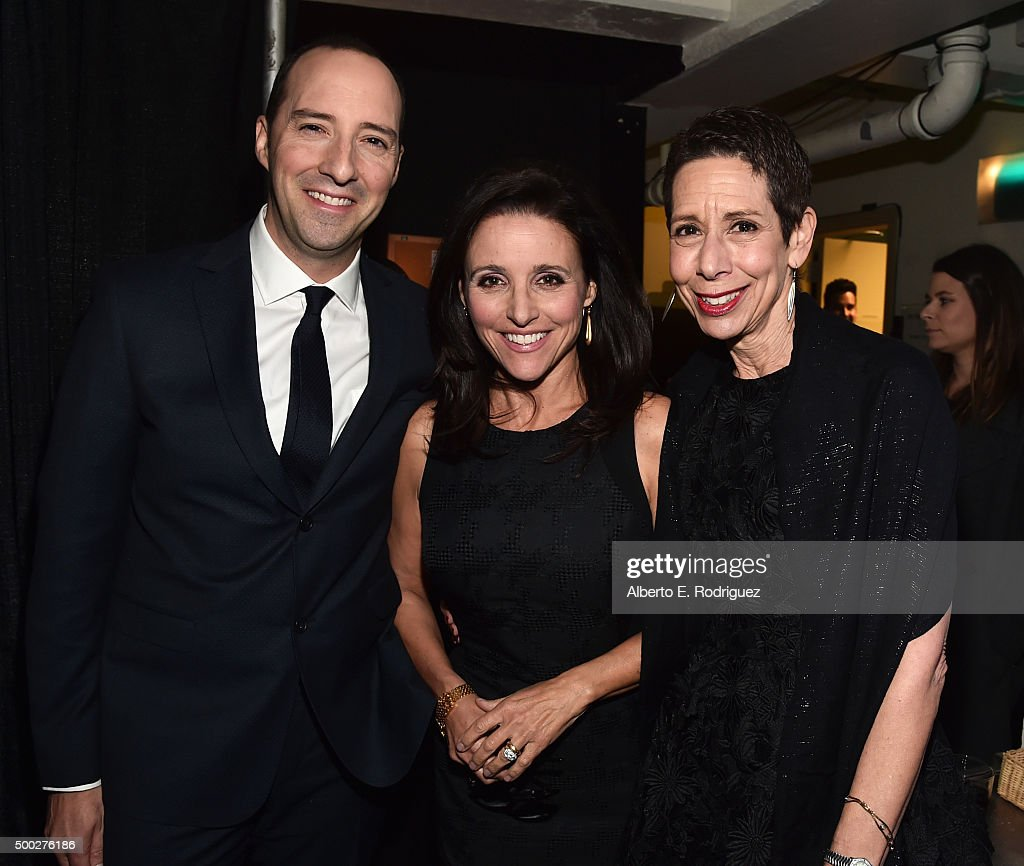 Actors Tony Hale, Julia Louis-Dreyfus and Executive Director and CEO of The Trevor Project Abbe Land attend TrevorLIVE LA 2015 at Hollywood Palladium on December 6, 2015 in Los Angeles, California.