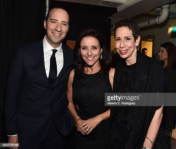 Actors Tony Hale Julia LouisDreyfus and Executive Director and CEO of The Trevor Project Abbe Land attend TrevorLIVE LA 2015 at Hollywood Palladium...