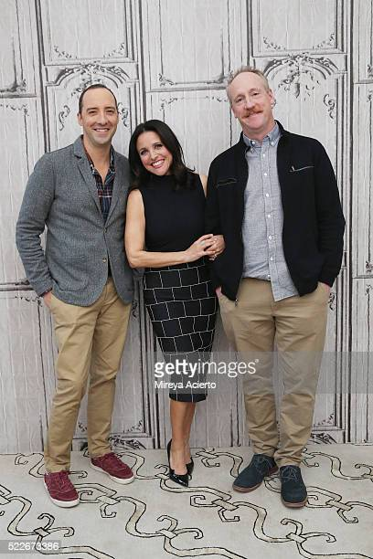 Actors Tony Hale Julia LouisDreyfus and Matt Walsh attend AOL Build Series to discuss the television series 'Veep' at AOL Studios in New York on...