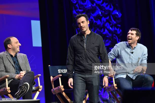 Actors Tony Hale Reid Scott and Timothy Simons speak onstage at 'Featured Session VEEP Cast' during 2017 SXSW Conference and Festivals at Austin...