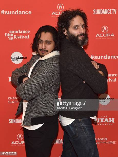 Actors Tony Revolori and Jason Mantzoukas attend the premiere of The Long Dumb Road during the Sundance Film Festival at The Eccles Center Theatre on...