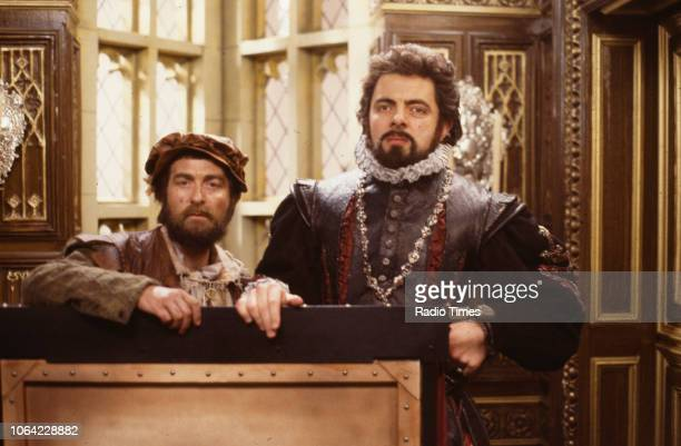 Actors Tony Robinson and Rowan Atkinson in a scene from the BBC television sitcom special 'Blackadder's Christmas Carol', December 1st 1988.