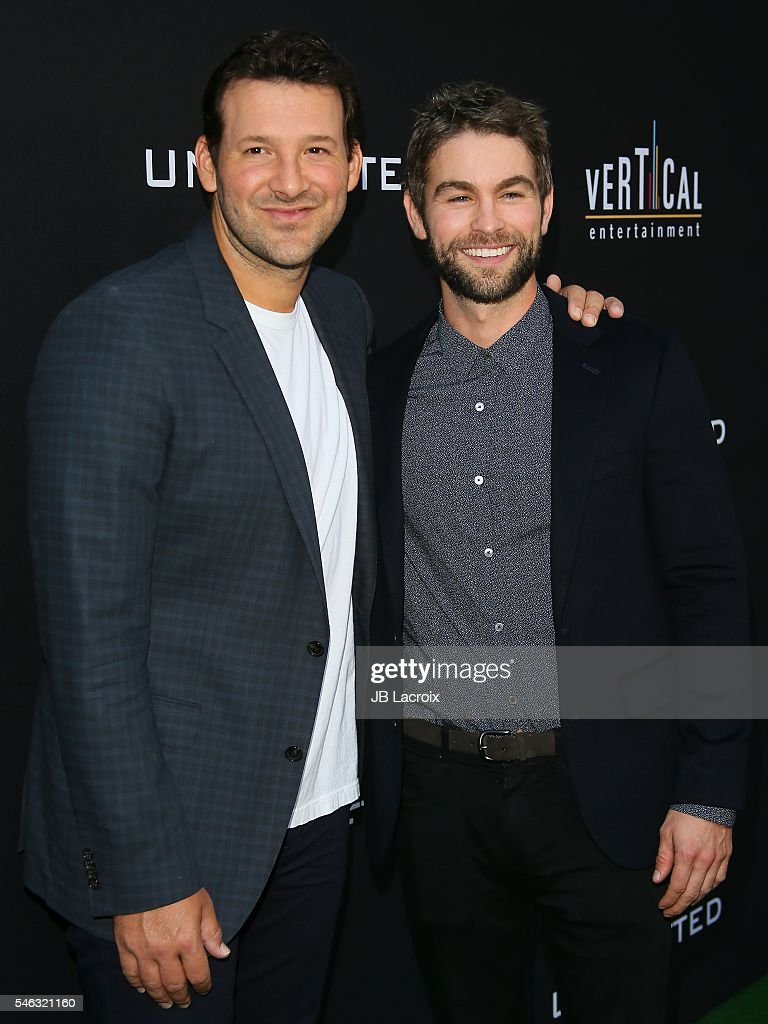 Actors Tony Romo and Chace Crawford attends the premiere of Vertical Entertainment's 'Undrafted' on July 11, 2016 in Hollywood, California.
