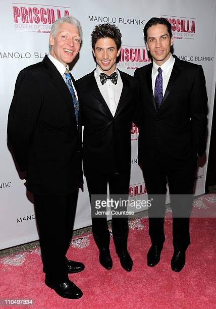 Actors Tony Sheldon Nick Adams and Will Swenson attend the after party for the Broadway opening night of Priscilla Queen of the Desert The Musical at...