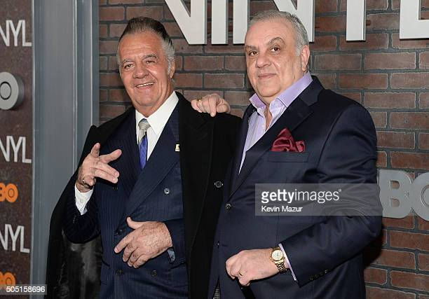 Actors Tony Sirico and Vincent Curatola attend the New York premiere of 'Vinyl' at Ziegfeld Theatre on January 15 2016 in New York City