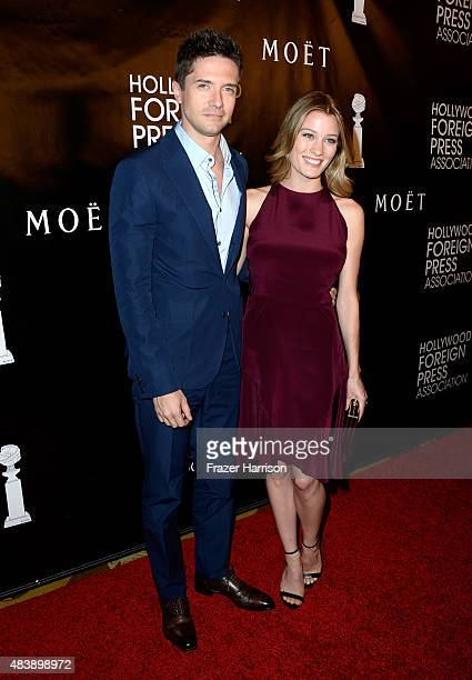 Actors Topher Grace and Ashley Hinshaw attend HFPA Annual Grants Banquet at the Beverly Wilshire Four Seasons Hotel on August 13 2015 in Beverly...