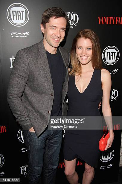 Actors Topher Grace and Ashley Hinshaw attend Vanity Fair and FIAT Toast To 'Young Hollywood' at Chateau Marmont on February 23 2016 in Los Angeles...