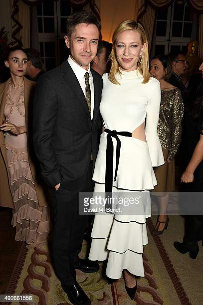 Actors Topher Grace and Cate Blanchett attend The Academy Of Motion Pictures Arts Sciences new members reception hosted by Ambassador Matthew Barzun...