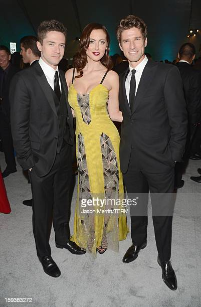 Actors Topher Grace and Eva Amurri Martino and tv personality Kyle Martino attend The Art of Elysium's 6th Annual HEAVEN Gala presented by Audi at...