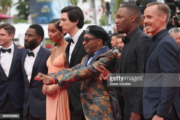 Actors Topher Grace John David Washington Laura Harrier Adam Driver director Spike Lee who wears knuckle rings with love and hate on them Corey...