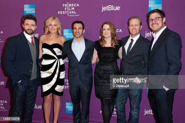 Actors Topher Grace Malin Ackerman Chris Messina Jenna Fischer director Lee Kirk and actor Rich Sommer attend the premiere of Giant Mechanical Man...