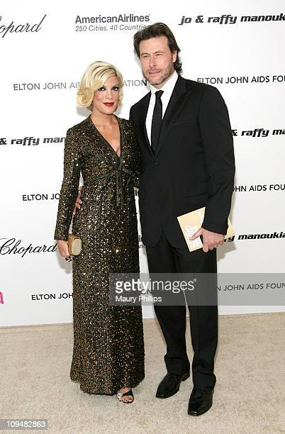 Actors Tori Spelling and Dean McDermott attend the 19th Annual Elton John AIDS Foundation's Oscar viewing party held at the Pacific Design Center on...