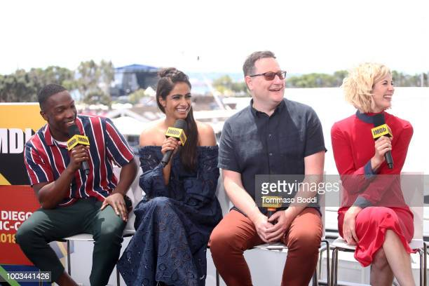Actors Tosin Cole Mandip Gill writer Chris Chibnall and actor Jodie Whittaker attend the #IMDboat At San Diego ComicCon 2018 Day Three at The IMDb...