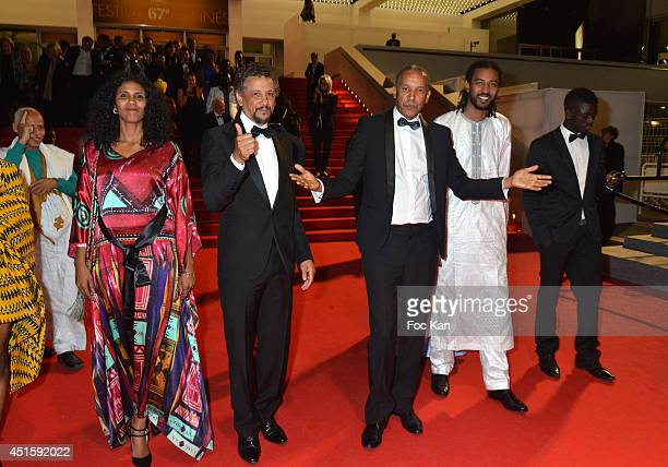 Actors Toulou Kiki Abel Jafri director Abderrahmane SIssako Ibrahim Ahmed dit Pino and a guest attend the 'Timbuktu' Premiere at the 67th Annual...