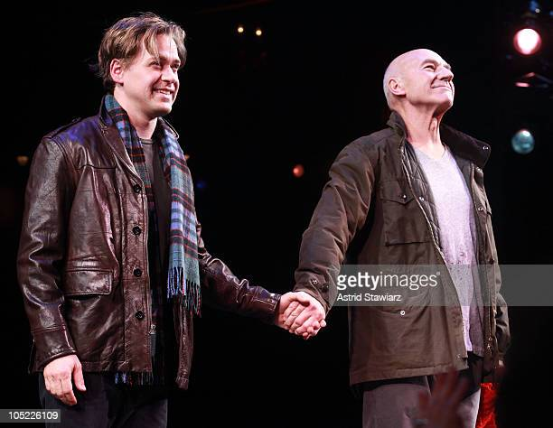 Actors TR Knight and Patrick Stewart are seen at the curtain call during opening night of A Life in the Theatre at The Schoenfeld Theatre on October...