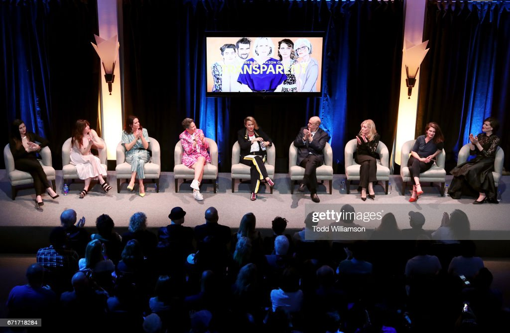 Actors Trace Lysette, Kathryn Hahn, and Amy Landecker, creator Jill Soloway, singer Alanis Morissette, actors Jeffrey Tambor, Judith Light, and Gaby Hoffmann, and writer/pianist Our Lady J speak onstage during the Amazon Studios Emmy For Your Consideration Event at Hollywood Athletic Club on April 22, 2017 in Hollywood, California.