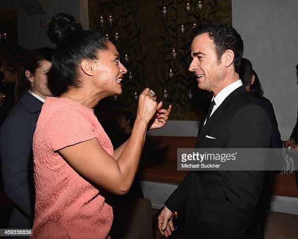 Actors Tracee Ellis Ross and and Justin Theroux attend the HFPA and InStyle Celebrate The 2015 Golden Globe Award Season and Miss Golden Globe at Fig...
