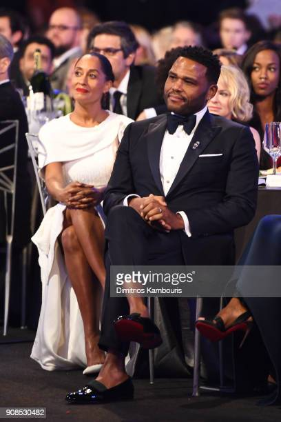Actors Tracee Ellis Ross and Anthony Anderson attend the 24th Annual Screen Actors Guild Awards at The Shrine Auditorium on January 21 2018 in Los...