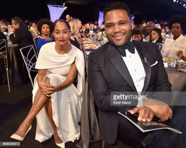 Actors Tracee Ellis Ross and Anthony Anderson pose during the 24th Annual Screen Actors Guild Awards at The Shrine Auditorium on January 21 2018 in...