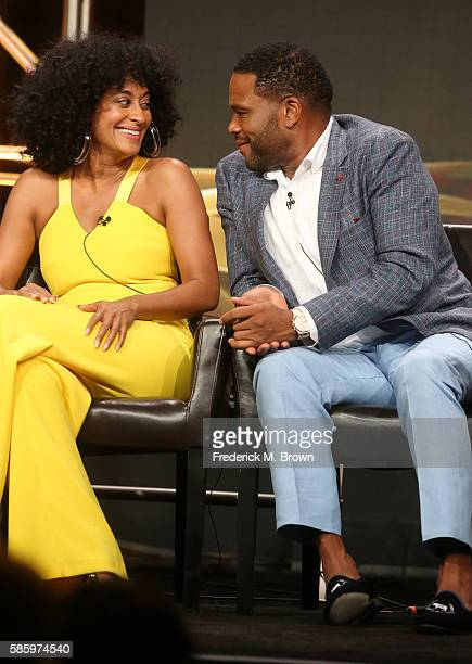 Actors Tracee Ellis Ross and Anthony Anderson speak onstage at the 'Blackish' panel discussion during the Disney ABC Television Group portion of the...