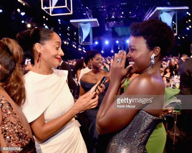 Actors Tracee Ellis Ross and Lupita Nyong'o attend the 24th Annual Screen Actors Guild Awards at The Shrine Auditorium on January 21 2018 in Los...