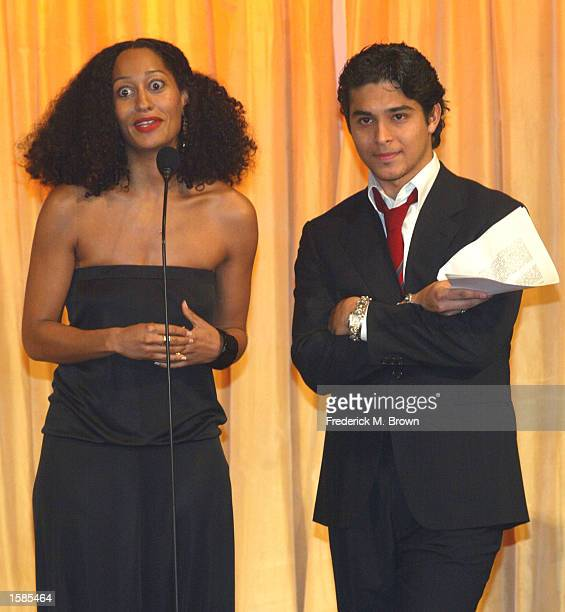 Actors Tracee Ellis Ross and Wilmer Valderrama present the Innovator Award to actor Matthew Lillard during the 10th Annual Diversity Awards at the...