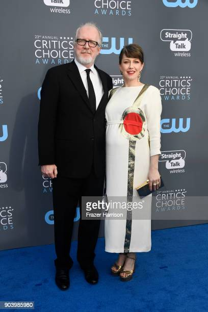 Actors Tracy Letts and Carrie Coon attend The 23rd Annual Critics' Choice Awards at Barker Hangar on January 11 2018 in Santa Monica California