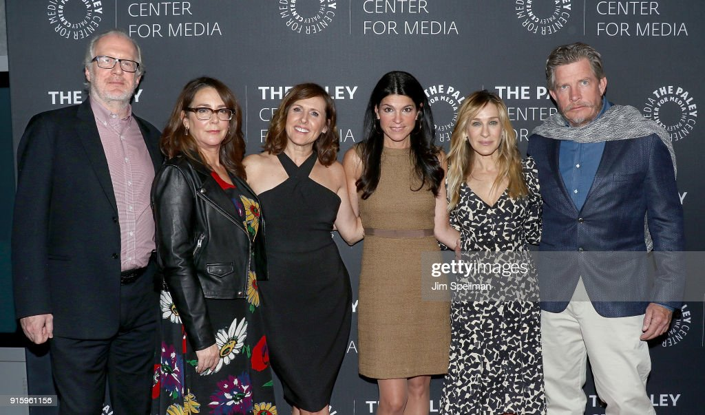 Actors Tracy Letts, Talia Balsam, Molly Shannon, president and CEO at The Paley Center for Media Maureen J. Reidy, actors Sarah Jessica Parker and Thomas Haden Church attend an evening with the cast of 'Divorce' at The Paley Center for Media on February 8, 2018 in New York City.