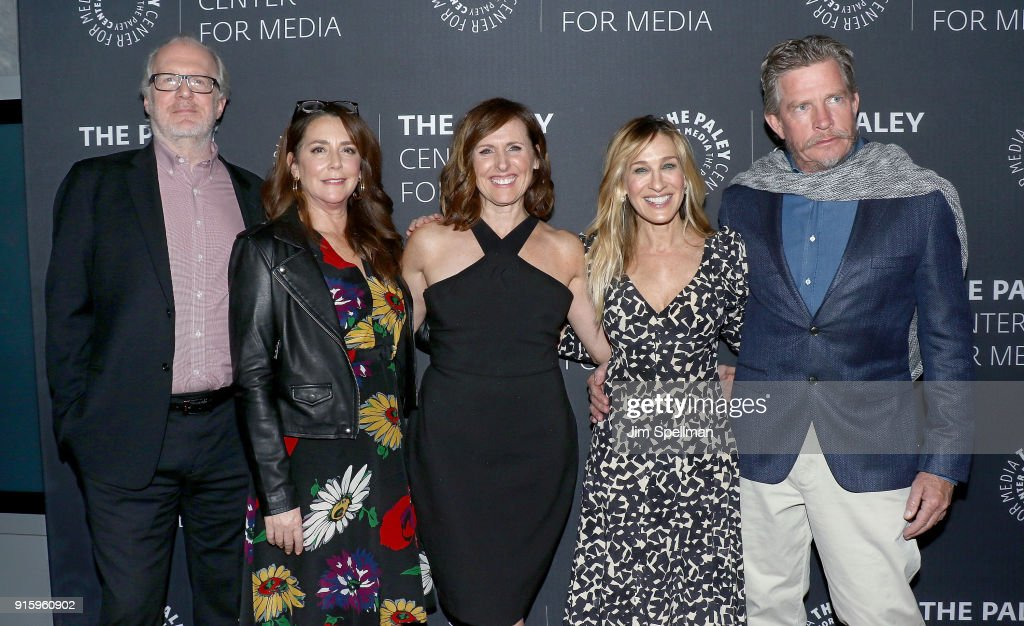 Actors Tracy Letts, Talia Balsam, Molly Shannon, Sarah Jessica Parker and Thomas Haden Church attend an evening with the cast of 'Divorce' at The Paley Center for Media on February 8, 2018 in New York City.