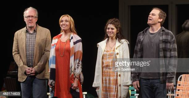 Actors Tracy Letts Toni Collette Marisa Tomei and Michael C Hall attend the Broadway opening night of 'The Realistic Joneses' at The Lyceum Theater...