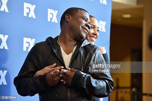 Actors Tracy Morgan and Megan Morgan attend the FX Networks Upfront screening of The People v OJ Simpson American Crime Story at AMC Empire 25...
