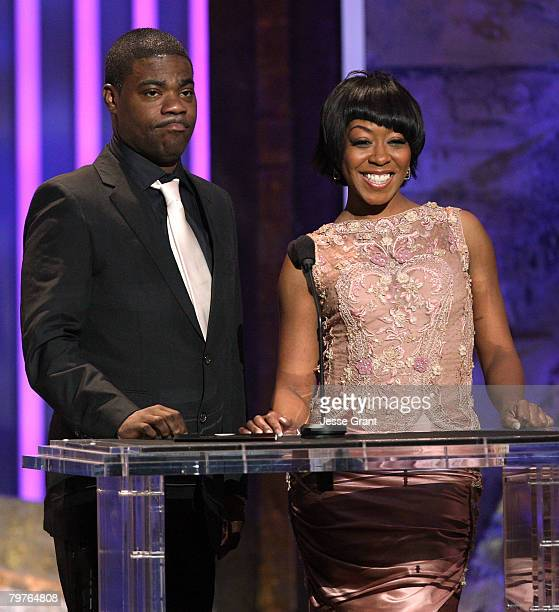 Actors Tracy Morgan and Tichina Arnold present the Outstanding Actor in a Drama Series award onstage during the 39th NAACP Image Awards held at the...
