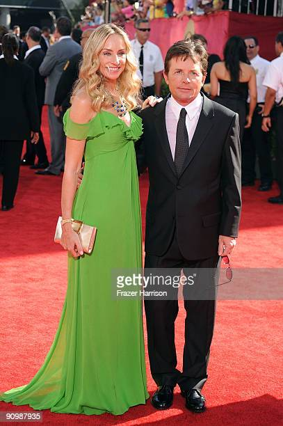 Actors Tracy Pollan and Michael J Fox arrive at the 61st Primetime Emmy Awards held at the Nokia Theatre on September 20 2009 in Los Angeles...