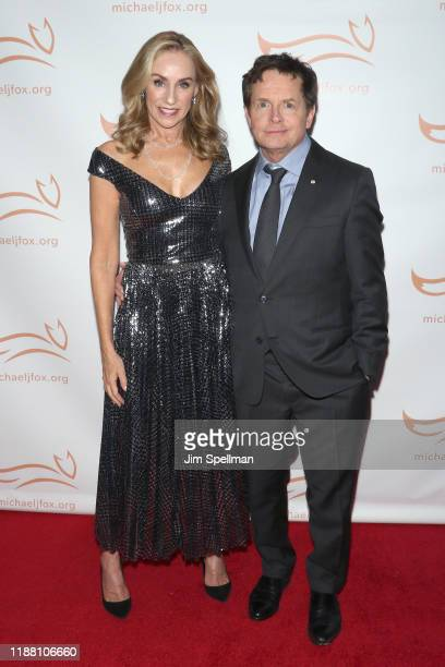 Actors Tracy Pollan and Michael J Fox attend the 2019 A Funny Thing Happened On The Way To Cure Parkinson's at the Hilton New York on November 16...