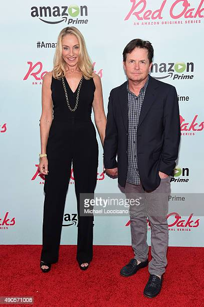 Actors Tracy Pollan and Michael J Fox attend the Amazon red carpet premiere for the brand new original comedy series 'Red Oaks' on September 29 2015...
