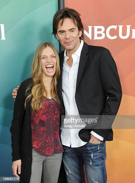 Actors Tracy Spiridakos and Billy Burke pose at the 2013 NBC Universal TCA Winter Press Tour Day 1 at The Langham Huntington Hotel and Spa on January...