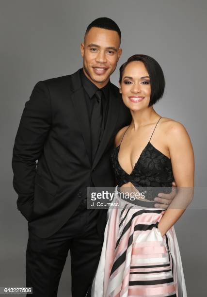 Actors Trai Byers and Grace Gealey pose for a portrait for BET's 2017 American Black Film Festival Honors Awards at The Beverly Hilton Hotel on...
