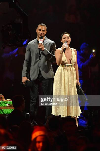 Actors Trai Byers and Grace Gealey speak onstage during Z100's Jingle Ball 2015 at Madison Square Garden on December 11 2015 in New York City