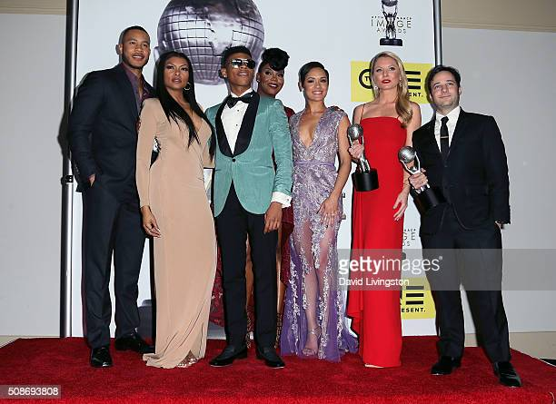 Actors Trai Byers Taraji P Henson Bryshere Y Gray aka Yazz Ta'Rhonda Jones Grace Gealey Kaitlin Doubleday and Danny Strong pose in the press room at...