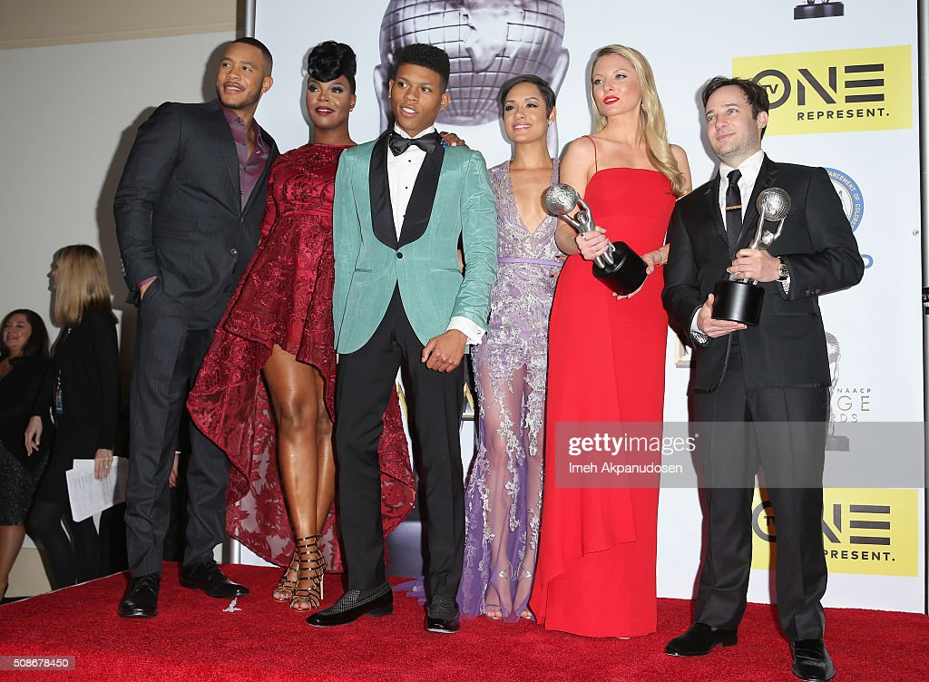 Actors Trai Byers,Ta'Rhonda Jones, Bryshere Y. Gray aka Yazz, Grace Gealey, Kaitlin Doubleday and Danny Strong pose with the Outstanding Drama Series award for Empire in the press room during the 47th NAACP Image Awards presented by TV One at Pasadena Civic Auditorium on February 5, 2016 in Pasadena, California.