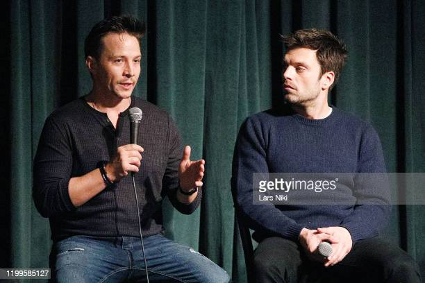 """Actors Travis Aaron Wade and Sebastian Stan on stage during a special screening of """"The Last Full Measure"""" for active and retired military servicemen..."""