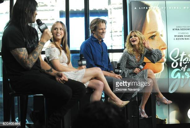Actors Travis Bacon Ryann Shane Kevin Bacon and Kyra Sedgwick attend Build previewing the new Lifetime film 'Story of a Girl' at Build Studio on July...