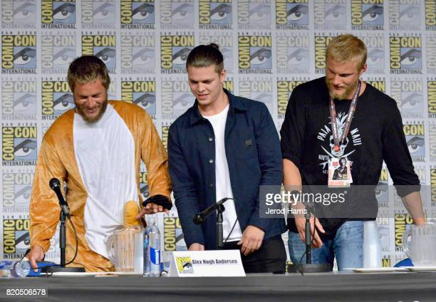 Actors Travis Fimmel Alex Hogh Andersen and Alexander Ludwig attend the 'Vikings' panel during San Diego ComicCon International 2017 at San Diego...