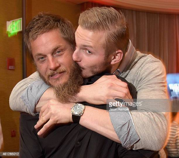 Actors Travis Fimmel and Alexander Ludwig attend the JAN 2015 TCA History Vikings Party on January 9 2015 in Pasadena California