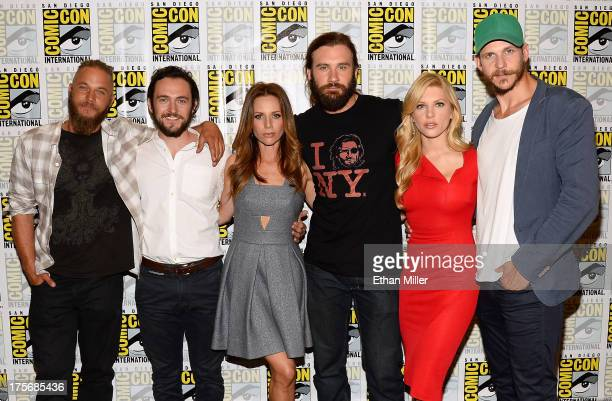 Actors Travis Fimmel and George Blagden actress Jessalyn Gilsig actor Clive Standen actress Katheryn Winnick and actor Gustaf Skarsgard attend a...