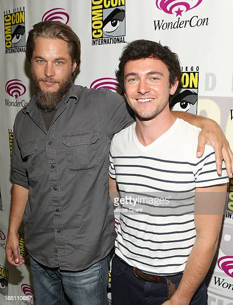 Actors Travis Fimmel and George Blagden attend the 'Living The Vikings' Panel for HISTORY at WonderCon held at the Anaheim Convention Center on March...