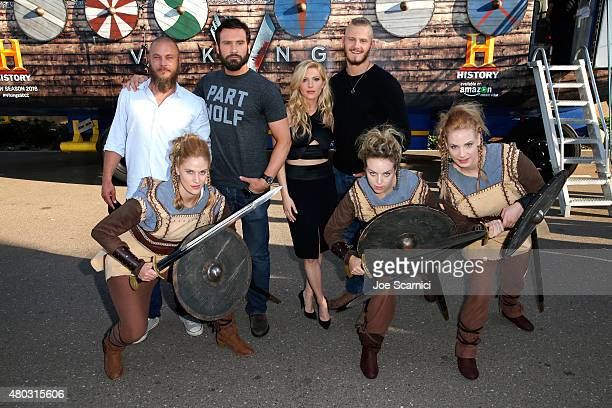 Actors Travis Fimmel Clive Standen Katheryn Winnick and Alexander Ludwig attend HISTORY's 'Vikings' during ComicCon International 2015 on July 10...