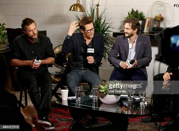 Actors Travis Fimmel Kevin Bacon and Hugh Dancy attend the Variety Studio powered by Samsung Galaxy at Palihouse on May 29 2014 in West Hollywood...