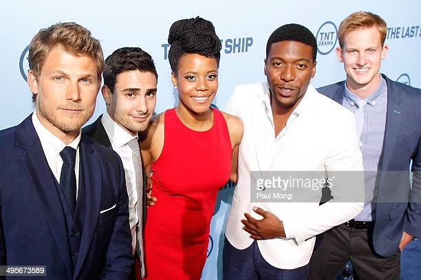 Actors Travis Van Winkle Tommy Savas Christina Elmore Jocko Sims and Chris Sheffield attend TNT's The Last Ship screening at NEWSEUM on June 4 2014...