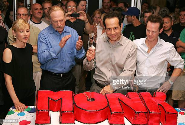 Actors Traylor Howard Ted Levine Tony Shalhoub and Jason GrayStanford attend the 100th Episode celebration of Monk on the Paramount Lot on July 17...